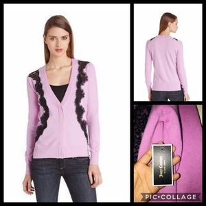 NWT Juicy Couture Herliotrope Lace Inset cardigan